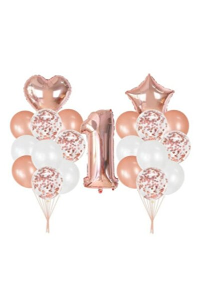 Deniz Party Store Rose Gold 1 Yaş Folyo Balon Şeffaf Konfetili Balon Seti