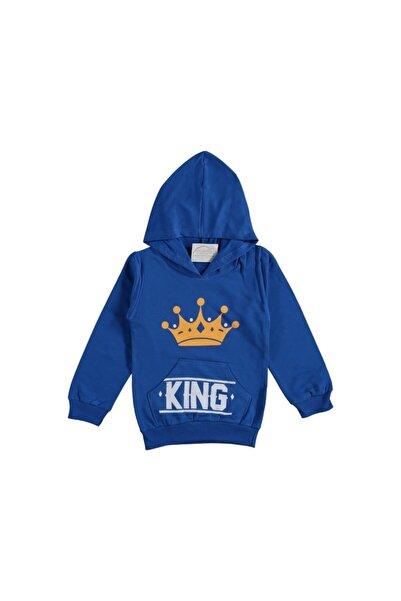 Dandinibebe Erkek Çocuk Mavi Kanguru Şapkalı Sweatshirt