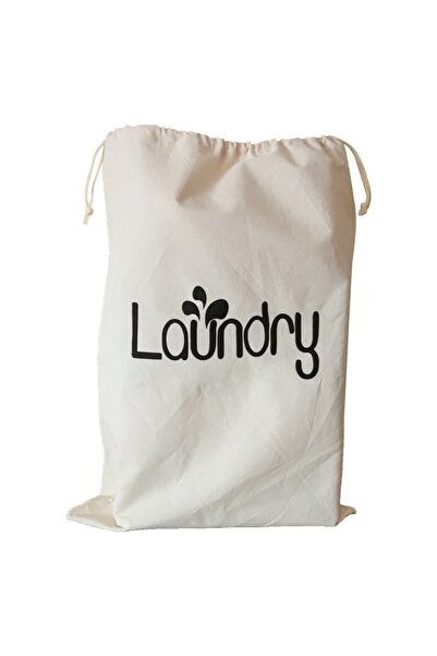 BugyBagy 50x70cm Ebadında Laundry Figürlü Kanvas Oyuncak Ve Çamaşır Saklama Torbası