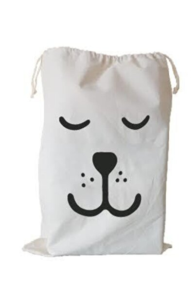 BugyBagy 50x70cm Ebadında Köpek (kapalı Göz) Figürlü Kanvas Oyuncak Ve Çamaşır Saklama Torbası