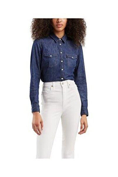 Kadın Lacivert The Ultımate Western Jean Gömlek