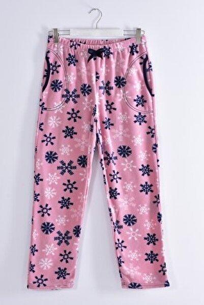 Kadın Pudra Büyük Beden Cepli Welsoft Polar Tek Pijama Alt 245-03