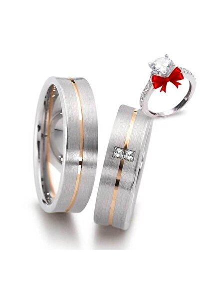 Gümüşcüm Kadın Dikdörtgen Taş Gümüş Alyans Modeli Nişan Yüzüğü