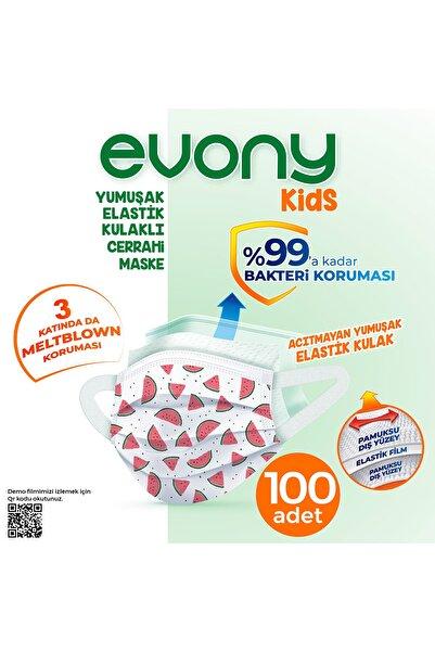 Evony Elastik Kulaklı Çocuk Evony Kids Maske 100 Adet