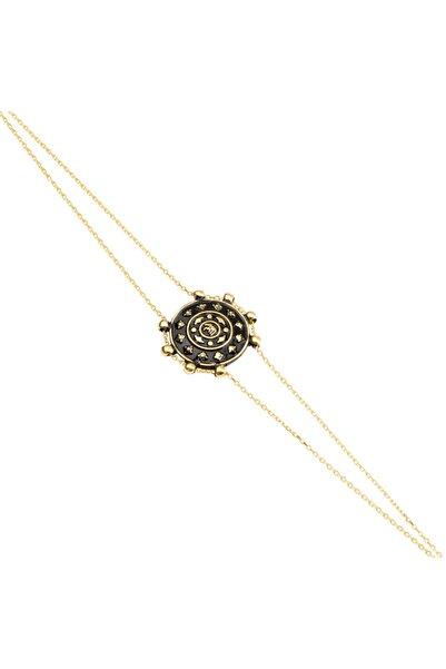 So CHIC... Kalkan Figürlü Sarı Altın Kaplama Gümüş Bileklik