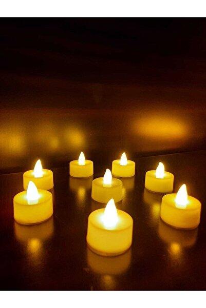 MFsüs 8 Adet Işıklı Led Mum Tealight Led Pilli Mum Sarı Piller Dahil