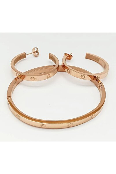 Bella Accessories Cartier Model Bileklik Ve Küpe Seti