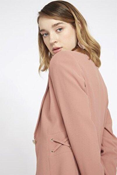 Kadın Pembe Kuşgözü Detaylı Ceket