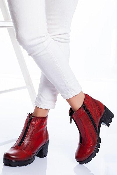derithy Kadın Kırmızı Hakiki Deri Bot atk2850