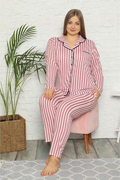 Moday Kadın Pembe Çizgili Büyük Beden Pijama Takımı 33f-1548