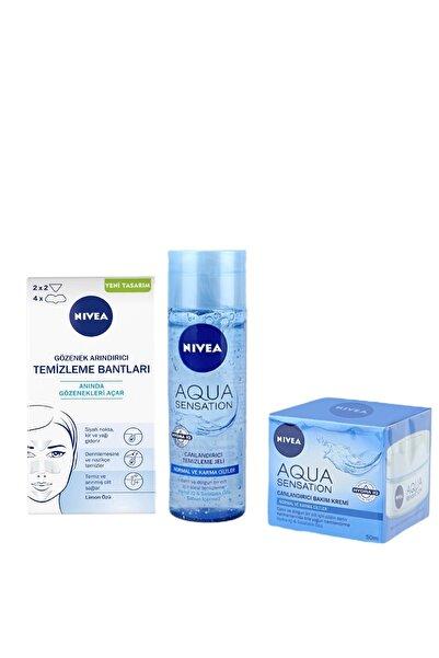 Nivea Siyah Nokta Gözenek Arındırıcı + Aqua Sensation Yüz Temizleme Jeli 200 ml + Bakım Kremi 50 ml
