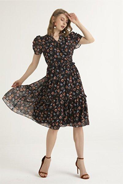 Chima Kadın Siyah Yakası Fırfırlı Elbise