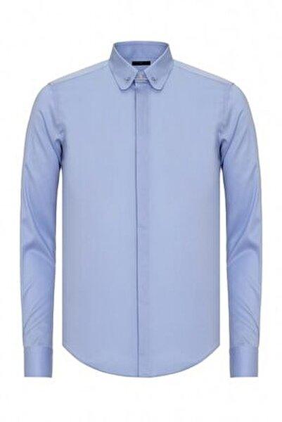 Erkek Mavi Slim Fit Bebe Yaka İğneli Gömlek