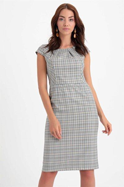 Chima Kadın Mavi Kısa Kol Ekose Elbise