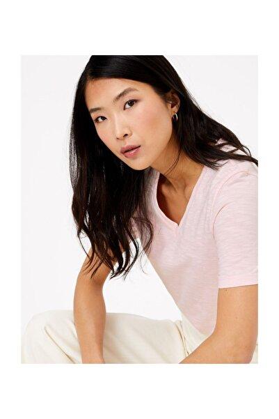Marks & Spencer Kadın Pembe Saf Pamuklu Straight Fit T-Shirt T41008994