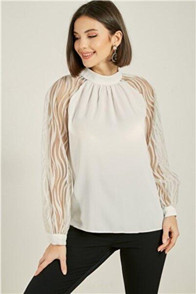 Sateen Kadın Beyaz  Kolları Flok Baskılı Bluz