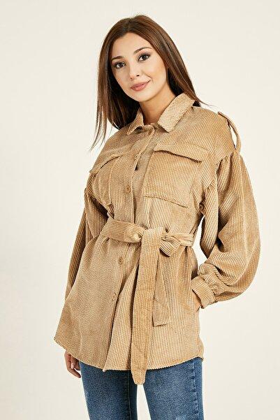 Sateen Belden Kuşaklı Kadife Ceket