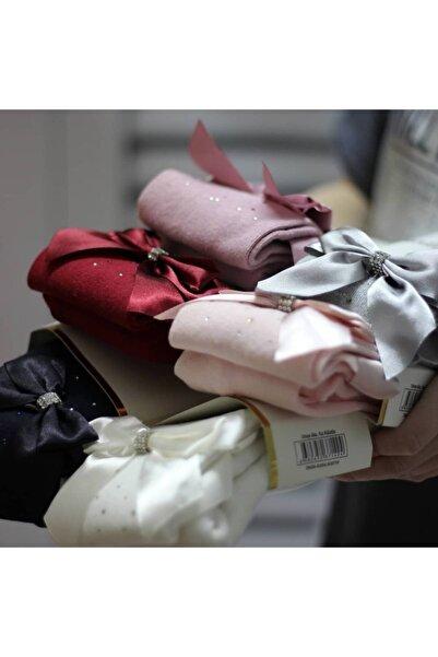 Katamino Yandan Fiyonklu Taş Detaylı Pamuklu Külotlu Çorap Krem Renk