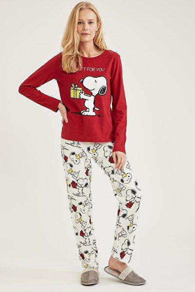 DeFacto Kadın Ekru Snoopy Lisanslı Pijama Takımı
