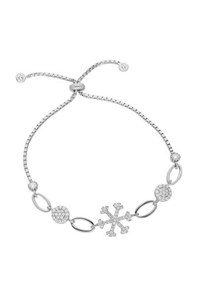 Chavin Kadın Taşlı Kar Tanesi Asansörlü Gümüş Bileklik Ee46by