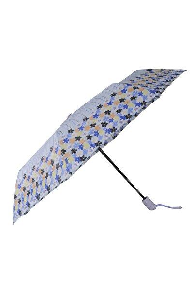 TREND Tam Otomatik Şemsiye Çiçek Desenli Mavi 6638