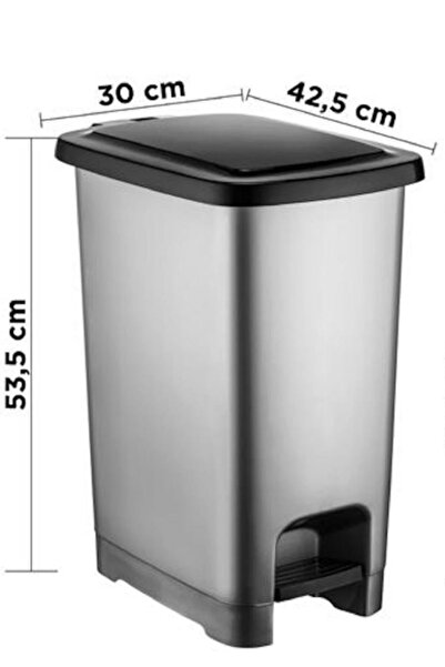 Dünya Plastik Slim Pedallı Çöp Kovası 40 Lt Metalik Siyah