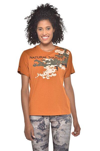 bilcee Kadın Turuncu Baskılı T-shirt Gw-9216