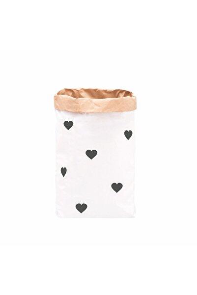 BugyBagy Siyah Kalp Yağmuru  Paperbag Dekoratif Çamaşır ve Oyuncak Sepeti Saklama Kutusu
