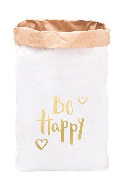 BugyBagy Be Happy Paperbag Dekoratif Çamaşır ve Oyuncak Sepeti Saklama Kutusu Oda Aksesuarı