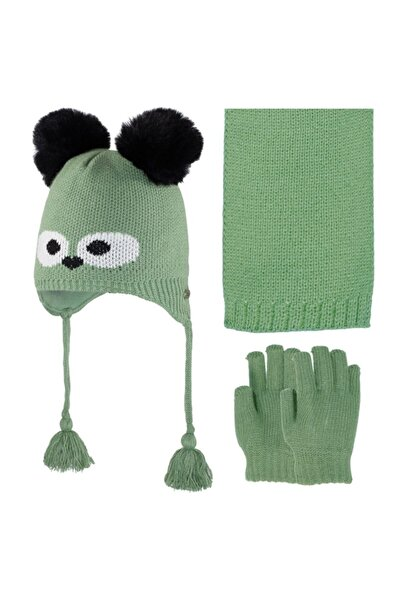 bebegen Göz Desenli Yeşil Atkı Eldiven Bere Set