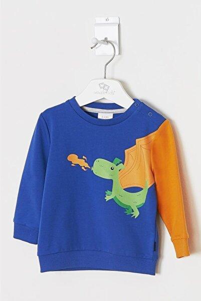 Wonder Kıds Erkek Bebek Saks Mavi Sweatshirt