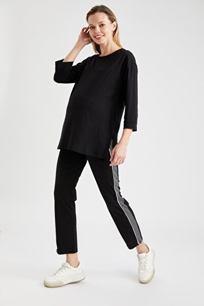 DeFacto Kadın Siyah Relax Fit Renk Bloklu Hamile Pantolon