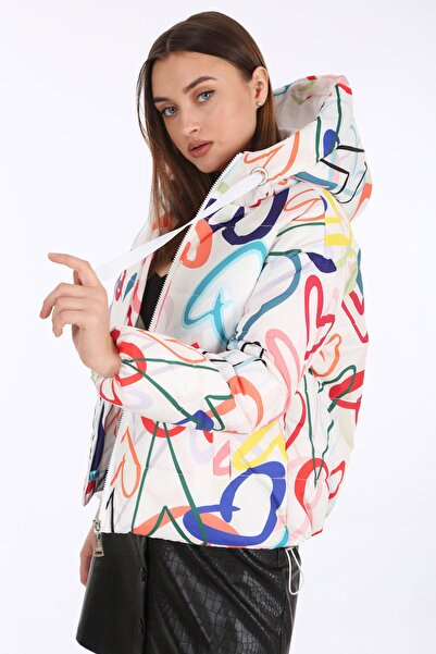 Bigdart Kadın Beyaz Desenli Şişme Mont 5125