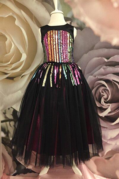 Dide Kids Kız Çocuk Siyah Büstiyeri Payetli Abiye Elbise