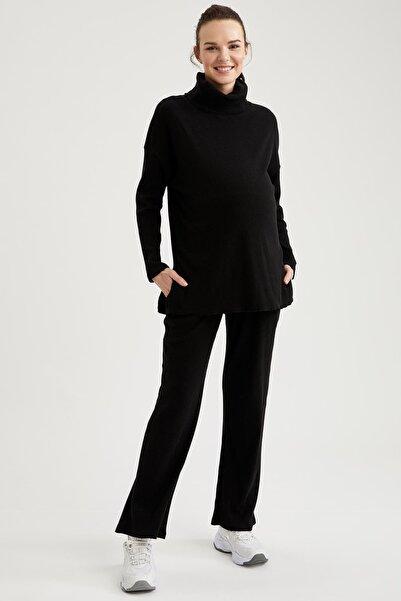 DeFacto Kadın Siyah Geniş Paça Örme Hamile Pantolonu
