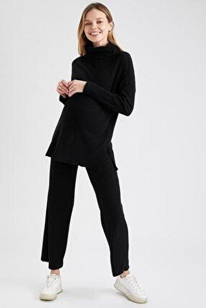 Kadın Siyah Palazzo Örme Hamile Pantolon