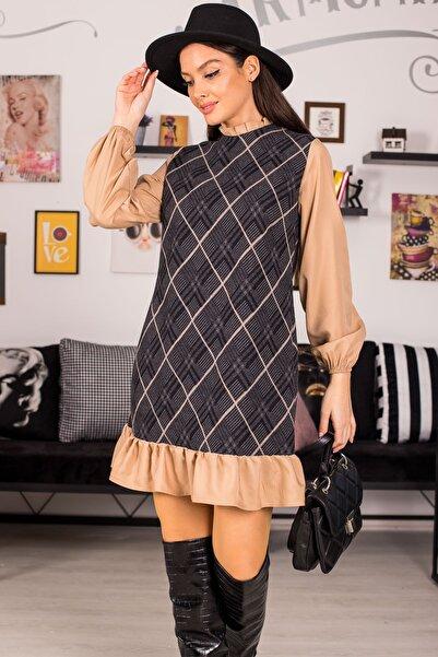 armonika Kadın Bej Yakasi Ve Altı Fırfırlı Desenli Elbise ARM-21K001041