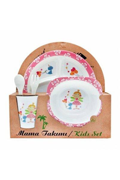 Veletto Prenses Melamin Bebek Mama Yemek Tabağı Kabı Bardak Kaşık 5li Set