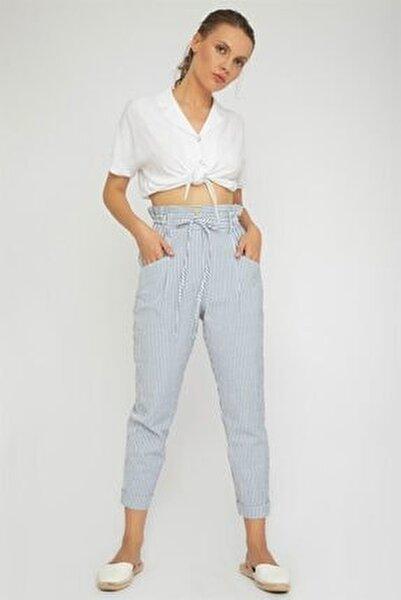 Kadın Mavi Çizgili Beli Bağcıklı Pantolon