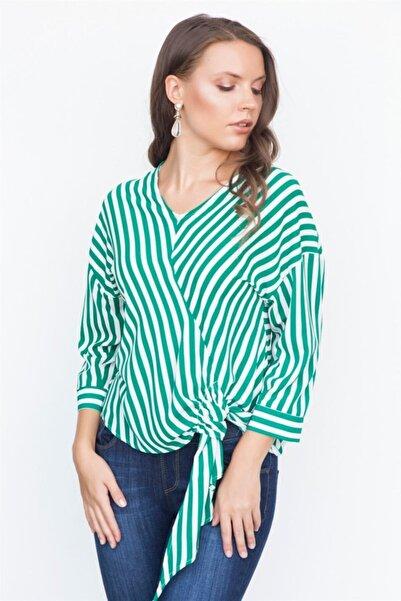 Chima Kadın Yeşil Kapri Kol Bluz Y18Bl305