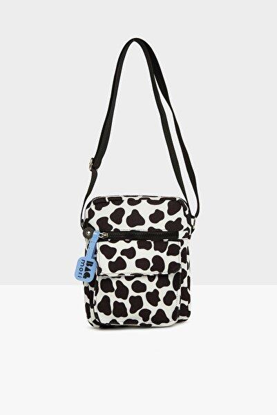 Bagmori Kadın Siyah Beyaz Cepli Mini Çanta M000005445