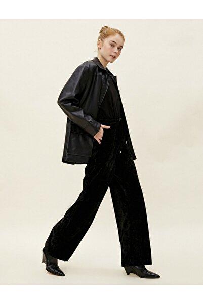 Koton Kadın Siyah Kadife Bol Paça Pantolon