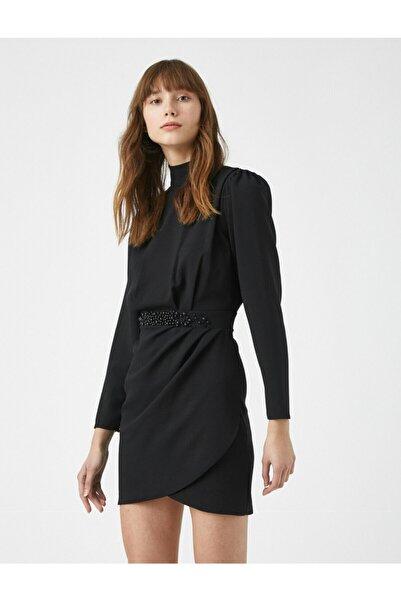 Koton Kadın Siyah Vatkali Dik Yaka Uzun Kollu Isleme Detayli Elbise