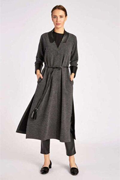 Mimya Kadın Antarsit Deri Kemerli Örme Ceket
