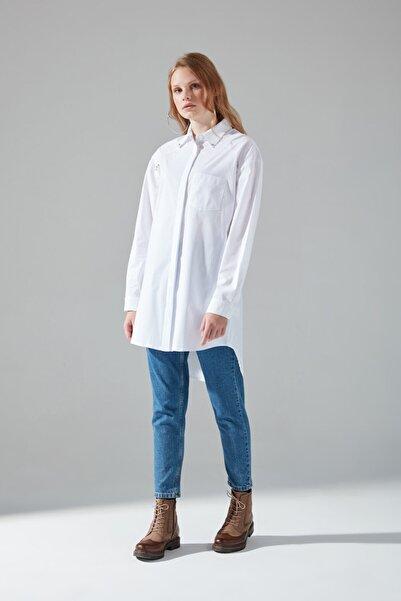 Mizalle Kadın Ekru Trop Detaylı Gömlek