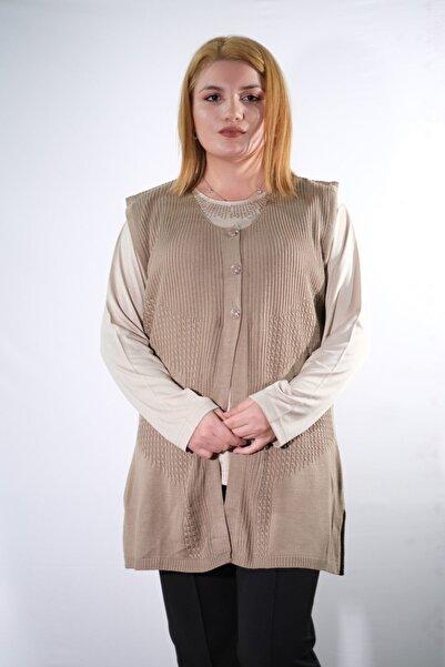 Narin Kadın Kahverengi Babaanne Triko Yelek 381