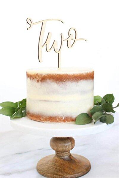 Partifabrik Ahşap Pasta Süsü Two Iki Yaş