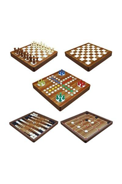 Yenigün 5'li Oyun Seti - Tavla - Dama - Kızma Birader - 9 Taş - Satranç Aynı Set Içinde Ahşap