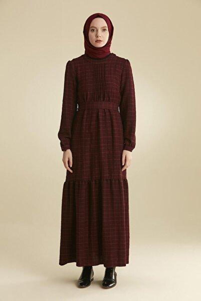 Tuğba Kadın Bordo Kareli Elbise