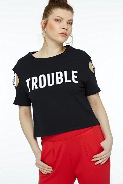 Fulla Moda Kadın Baskılı Siyah T-Shirt
